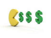 Pacman money food. Royalty Free Stock Image