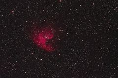 Pacman Nebula. The Pacman Nebula NGC 281 in the constellation Cassiopeia as seen from Stockach in Germany stock images