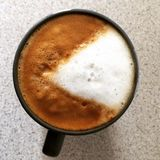 Pacman style coffee. Cappuccino coffee with milk foam in pacman stock image