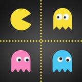 Pacmanreeks, Vlakke geplaatste glimlachpictogrammen, Pac-mensenkarakter, gameboy ruimtespelinzameling, spook vectordieillustratie stock illustratie