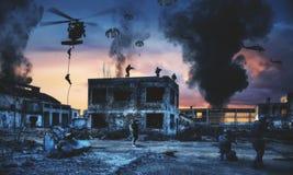 Pacnięcie siły w zniszczonej fabryce i helikopter ilustracja wektor