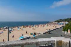 Paco de Arcos beach in Paco de Arcos, Portugal. Paco de Arcos Portugal. 26 June 2017. Paco de Arcos beach in Paco de Arcos. Paco de Arcos, Portugal. photography stock photo