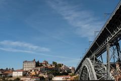 Episcopal Palace and Dom Luis I bridge in Porto, Portugal stock photo