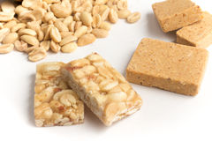 Pacoca and Pe de Moleque.Traditional Brazilian Peanut candy. Royalty Free Stock Images