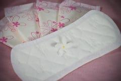Pacote da almofada sanitária para a proteção da higiene da mulher imagens de stock royalty free