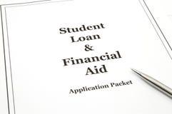 Pacote da aplicação do empréstimo e da ajuda económica do estudante Foto de Stock Royalty Free
