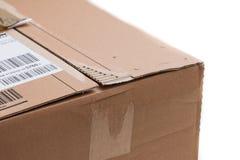 Pacote da caixa de cartão, conceito de envio: Preparando-se para a entrega, isolado fotografia de stock