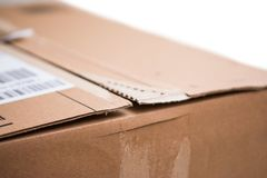 Pacote da caixa de cartão, conceito de envio: Preparando-se para a entrega, isolado imagem de stock royalty free