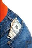 Pacote de $100 contas no bolso Fotografia de Stock