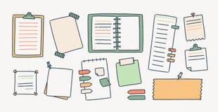 Pacote de blocos de notas e das folhas de papel unidos com percevejos e a fita adesiva fazendo as anotações da escrita isoladas n ilustração stock