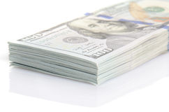 Pacote de cem dólares de cédulas Fotografia de Stock