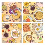 Pacote de ideias superiores de refeições servidas do café da manhã, do alimento delicioso, de sobremesas doces e de mãos dos povo ilustração stock
