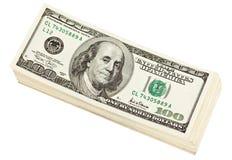 Pacote de notas de banco do dólar Fotos de Stock
