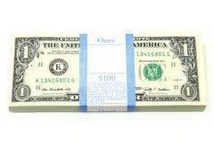 Pacote de notas de 1 dólar Fotografia de Stock Royalty Free