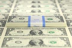 Pacote de notas de 1 dólar Foto de Stock Royalty Free