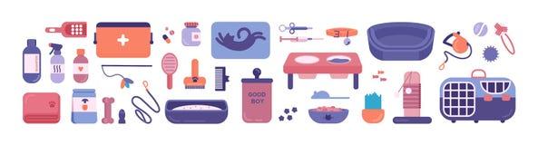 Pacote de produtos da loja do animal de estimação para os gatos e os cães isolados no fundo branco Ajuste dos artigos ou dos bens ilustração stock
