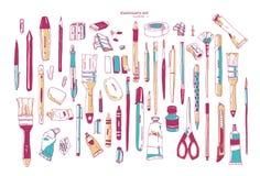 Pacote de utensílios tirados mão dos artigos de papelaria ou da escrita Grupo de fontes da escrita e da arte isoladas no fundo br ilustração do vetor