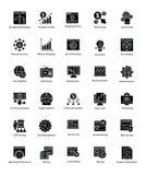 Pacote de Web e de Seo Glyph Vetora Icons Imagens de Stock Royalty Free