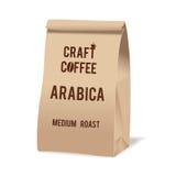 Pacote do saco do alimento do papel de Brown do café do ofício Molde realístico do modelo do vetor Projeto de empacotamento do ve Fotos de Stock Royalty Free