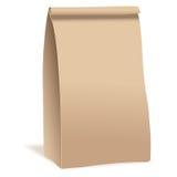 Pacote do saco do alimento do papel de Brown Molde realístico do modelo do vetor Projeto de empacotamento do vetor Fotos de Stock Royalty Free