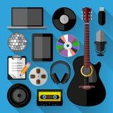 Pacote dos ícones da música Fotografia de Stock Royalty Free