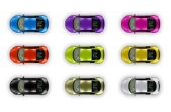 Pacote dos carros da vista superior isolado no branco Imagens de Stock Royalty Free