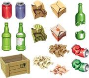 Pacote e lixo. Fotos de Stock Royalty Free