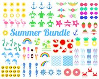 Pacote grande do verão com elementos do projeto Tartaruga, Sun, cavalo marinho, cauda da sereia, arco-íris, flamingo, melancia, a ilustração do vetor