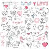 Pacote grande romântico Valentim do desenho da mão, casamento Fotografia de Stock
