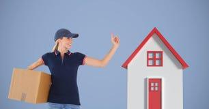 Pacote levando da mulher da entrega pela casa 3d Imagens de Stock