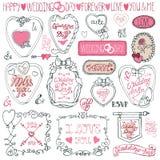 Pacote romântico do quadro Valentim do desenho da mão Fotos de Stock Royalty Free