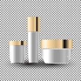 Pacotes brancos dos produtos glamoroso do cuidado da beleza da cara no fundo transparente Ilustração realística do vetor do model Imagem de Stock Royalty Free