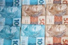 Pacotes brasileiros do dinheiro Foto de Stock Royalty Free