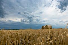 Pacotes da palha em nuvens de tempestade da terra Imagem de Stock Royalty Free