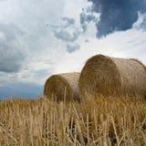 Pacotes da palha em nuvens de tempestade da terra Imagens de Stock