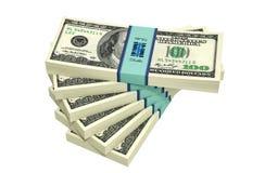 Pacotes de 100 cédulas do dólar Fotos de Stock
