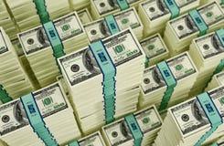 Pacotes de 100 cédulas do dólar Foto de Stock