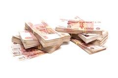 Pacotes de dinheiro do russo Fotografia de Stock Royalty Free
