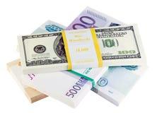 Pacotes de dinheiro dos países diferentes Foto de Stock Royalty Free
