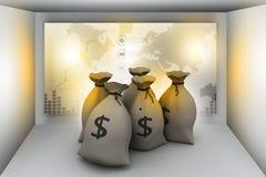 Pacotes de dinheiro nos sacos Fotos de Stock