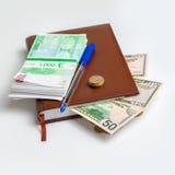 Pacotes de euro- dinheiro e dólares Imagem de Stock