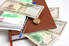 Pacotes de euro- dinheiro e dólares Foto de Stock