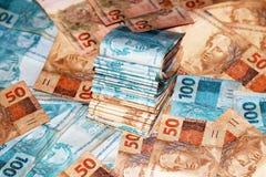 Pacotes do dinheiro de Brasil Imagem de Stock Royalty Free