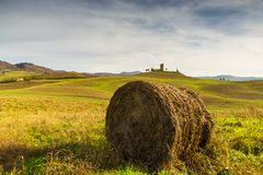 Pacotes do feno em uma exploração agrícola no por do sol Fotos de Stock Royalty Free