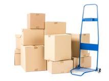Pacotes e caminhão de mão Imagens de Stock