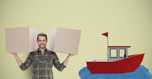 Pacotes levando do homem de entrega pelo barco 3d Fotos de Stock