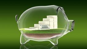 Pacs av pengar inom den genomskinliga spargrisen framförande 3d Arkivfoto