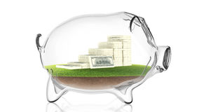 Pacs of money inside transparent piggy bank. 3d rendering. Conceptual image of a transparent piggy bank with a pacs of dollars. 3d rendering Royalty Free Stock Images