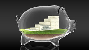 Pacs of money inside transparent piggy bank. 3d rendering. Conceptual image of a transparent piggy bank with a pacs of dollars. 3d rendering Stock Photo
