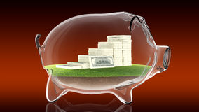 Pacs of money inside transparent piggy bank. 3d rendering. Conceptual image of a transparent piggy bank with a pacs of dollars. 3d rendering Royalty Free Stock Photography